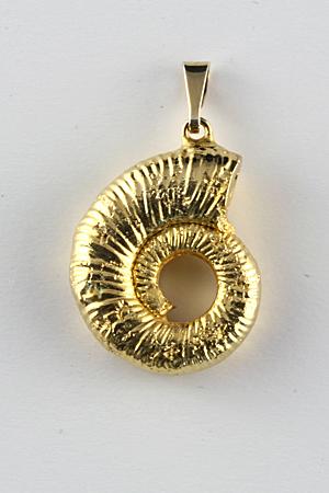 Ammonit Anhänger, vergoldet