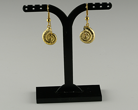 Ammonite earrings gold plated