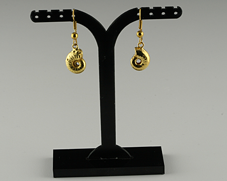Ammonite earrings gold plated