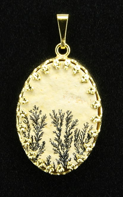Anhänger Dendriten-Medaillon in gelbem Metall