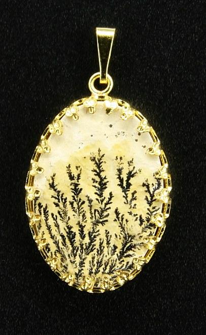 Dendritový přívěšek, žlutý kov
