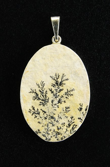 Dendritic Pendant, white metal setting
