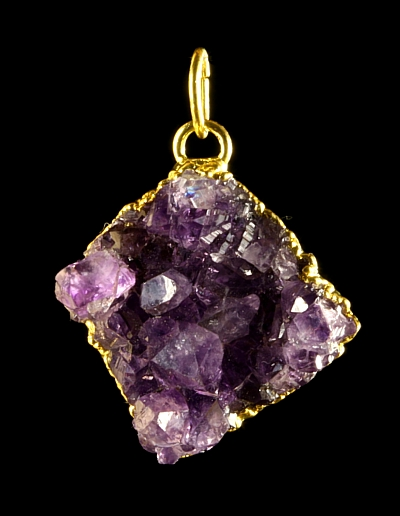 Pendant amethyste, Au electro-plated