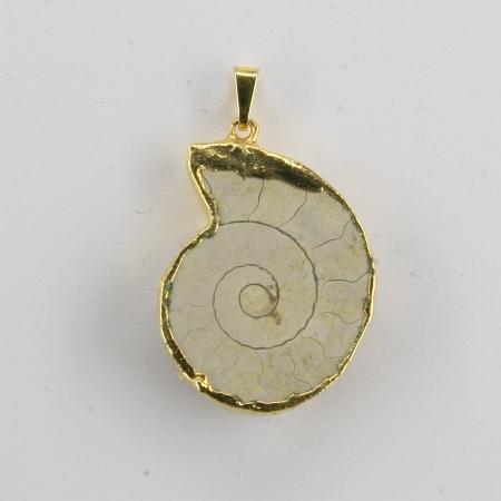 Anhänger Ammonit galvanisch vergoldet
