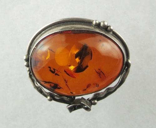 Amber, Brooch (Breast Pin), Silver 925