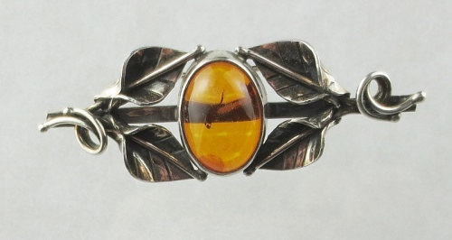 Amber, Brooch (Breast Pin), Silver 925
