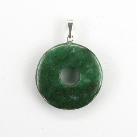Donut Silber-Anhänger, Jaspis grün