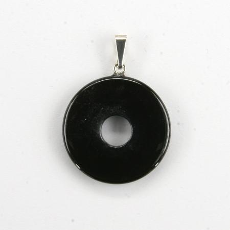 Donut Silber-Anhänger, Obsidian
