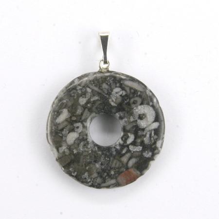 Donut Silber-Anhänger, Trochtilit Marmor