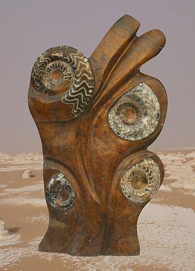Goniatit-Orthoceras Skulptur /Marmor
