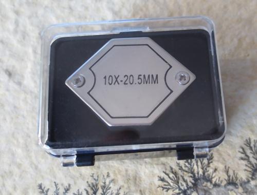 Doublet Hexagonal Magnifier, chrome, 10-fold, 20,5 mm