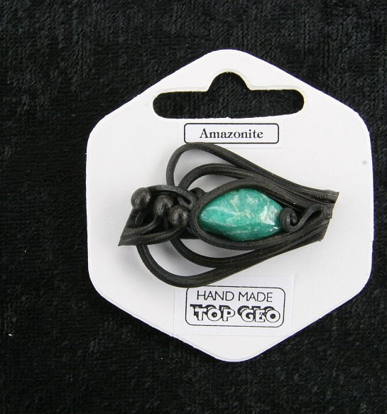 Lederlite brooch amazonite