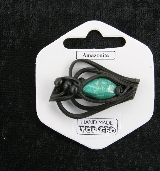Lederlit Brosche   Amazonit