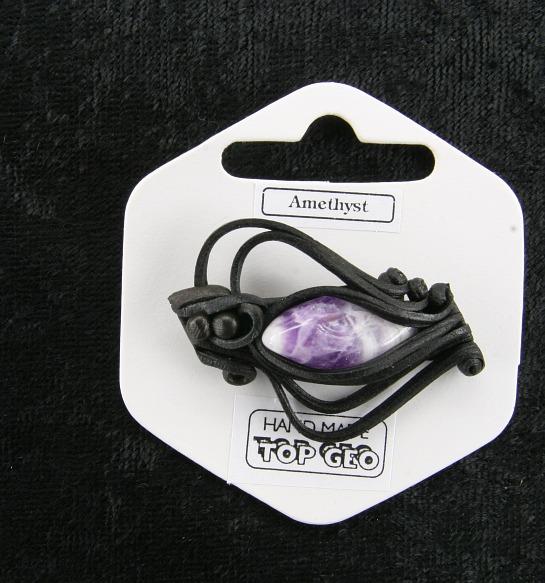 Lederlite brooch amethyst