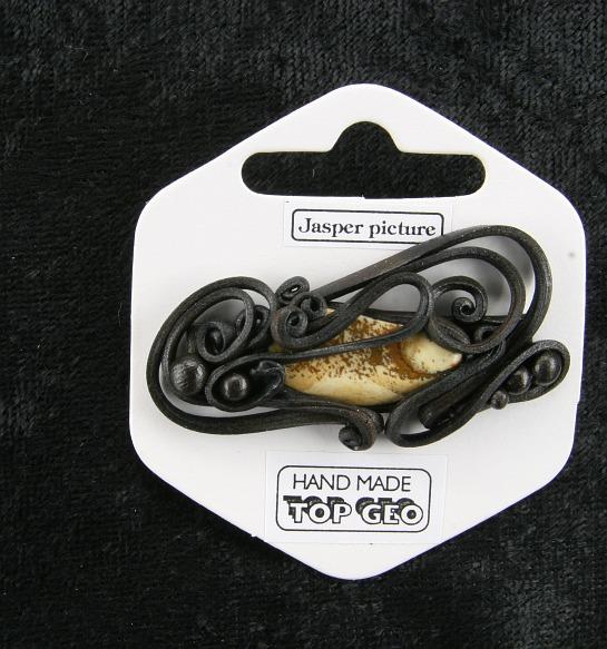 Lederlite brooch picture jasper