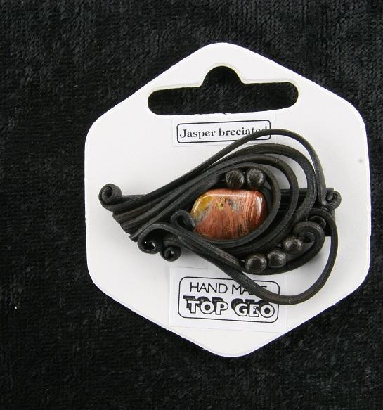Lederlite brooch agate breciated