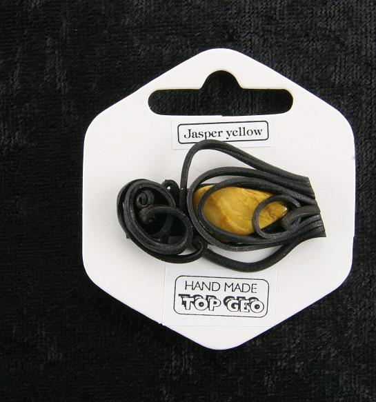 Lederlite brooch jasper yellow