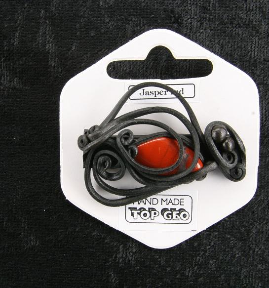 Lederlit Brosche   Jaspis rot