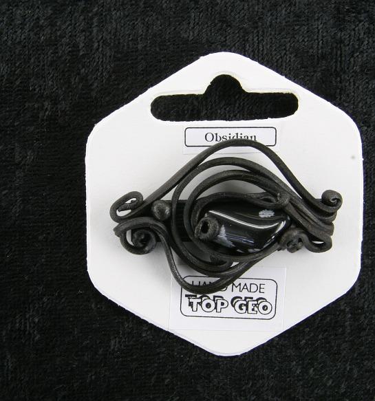 Lederlit Brosche   Obsidian