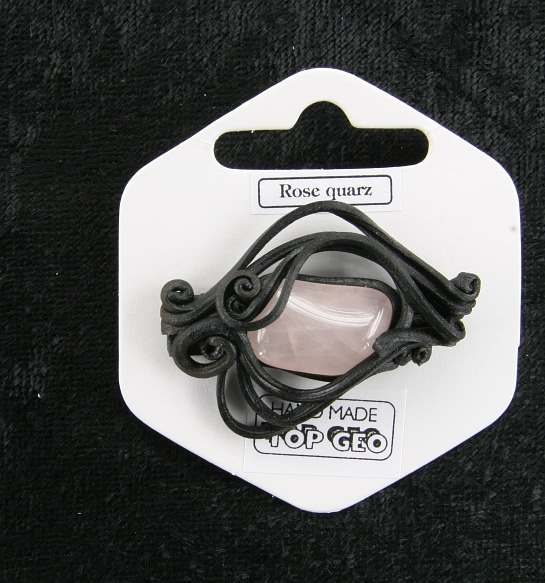 Lederlite brooch rose quartz