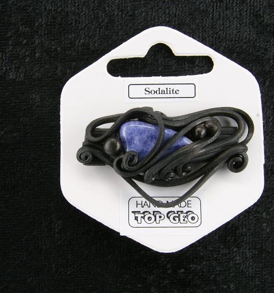 Lederlit Brosche   Sodalith