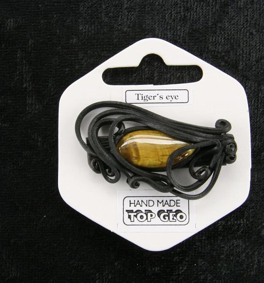 Lederlite brooch tigers eye