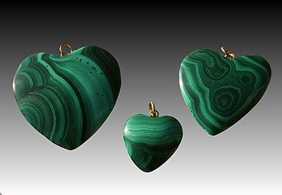 Malachite heart, small
