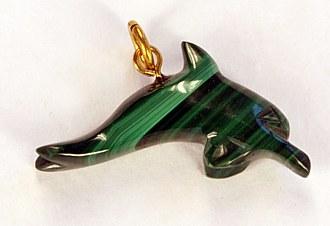 Malachite pendant dolphin