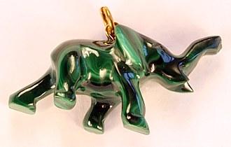 Malachite pendant elephant