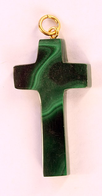 Malachite pendant cross