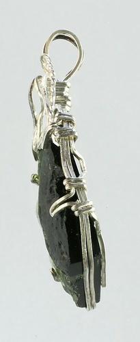 Vltavín, přívěšek ve stříbrném opletu ( s bublinou )