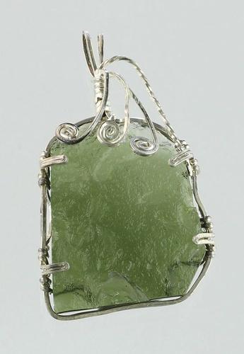 Moldavite pendant silver wire with bubble