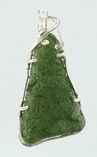 Vltavín, přívěšek ve stříbře
