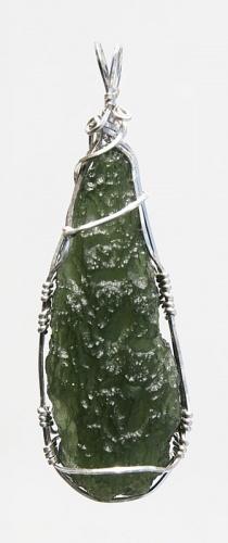 Moldavite pendant silver wire