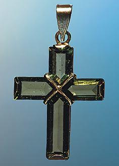 Moldavit Goldanhänger Kreuz facettiert