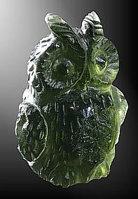 Moldavite, owl
