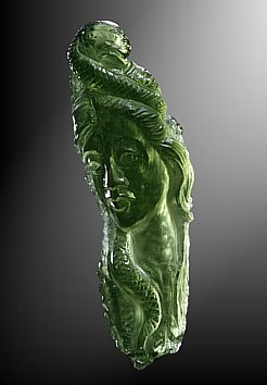 Moldavite, girl with snake