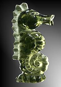 Vltavín, glyptika - mořský koník