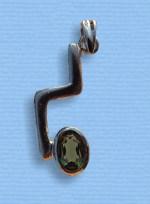 Vltavín - přívěšek ve stříbře VII