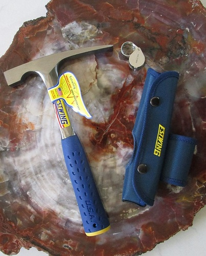 TOPGEO hammer offer: ESTWING rock pick (chisel edge), sheath, magnifier