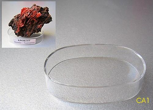 Plastový, oválný podstavec pod exponáty, čirý, 10 kusů