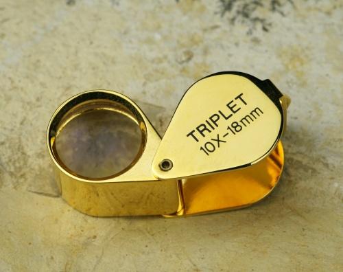 Triplett-Einschlaglupe 10-fach, (goldfarben)